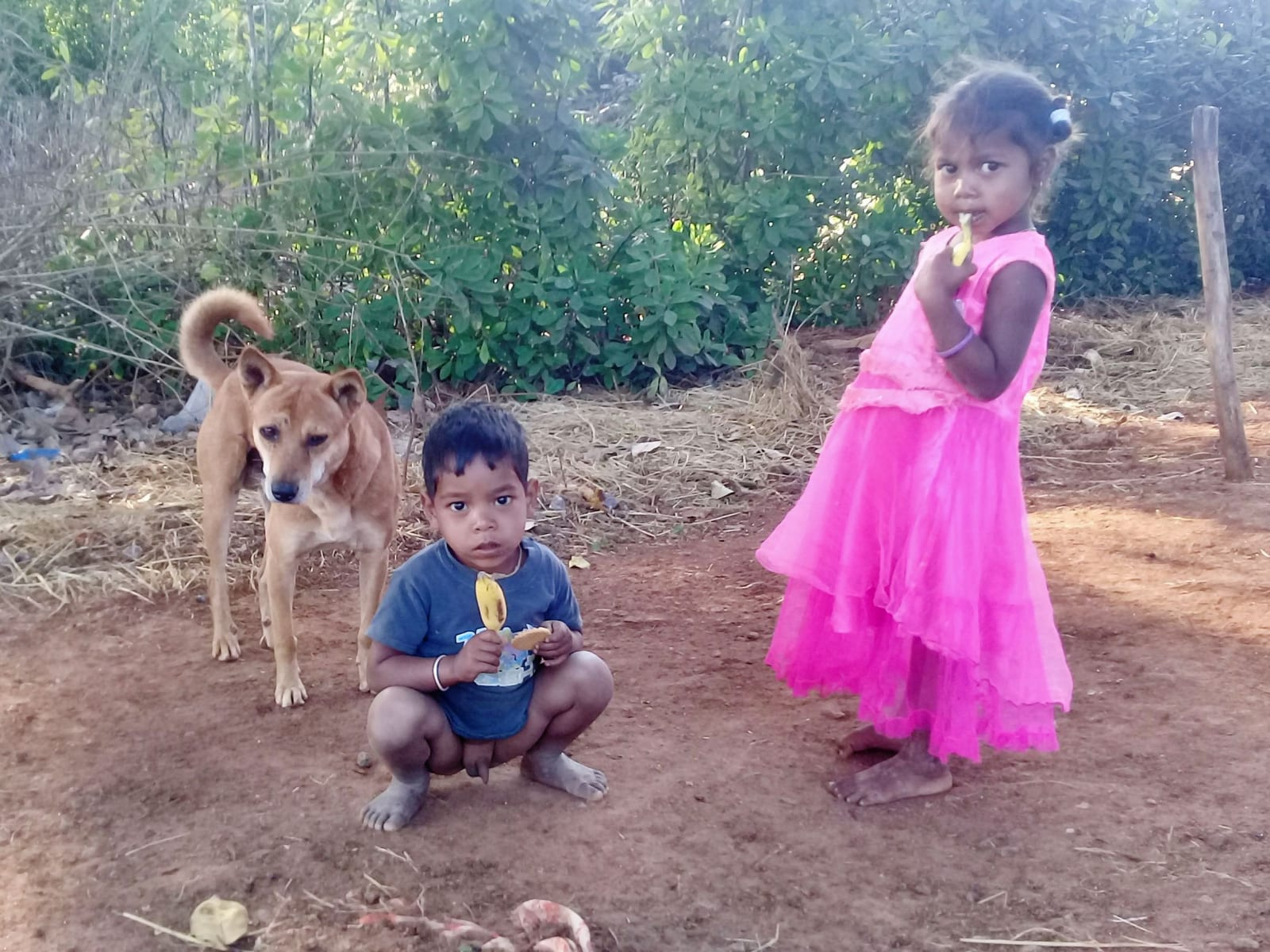 Tihle dva na mě takto zírali poté, co jsem se s nimi podělil o sušenky a každý z nich dostal banán. Musel jsem si prostě udělat fotku (vesnice v údolí Arakku, Indie)