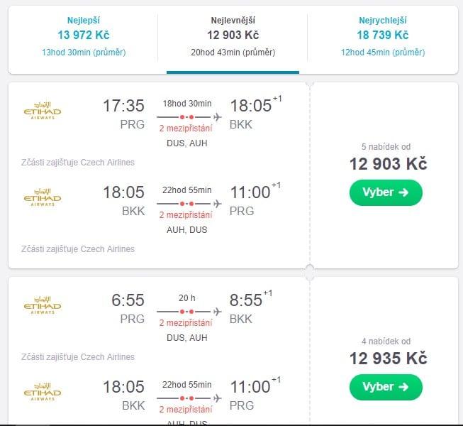 Zkontrolujte dobu letu a délku mezipřistání. Pokud vám vše vyhovuje, kupujte letenku, v opačném případě se vraťte opět na začátek hledání.