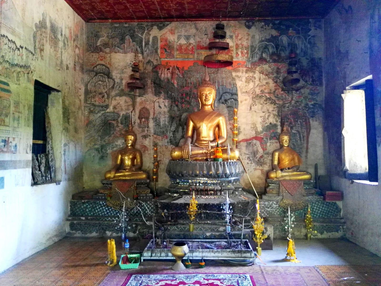 Chrám v dolní části Mount Phousi, Luang Prabang, Laos