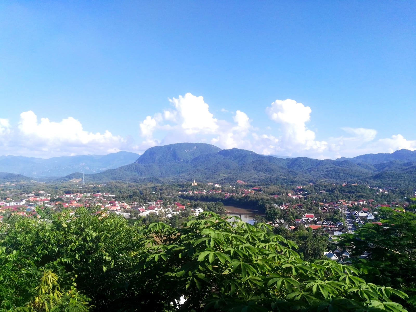 Výhled na Mekong z Mount Phousi, Luang Prabang, Laos