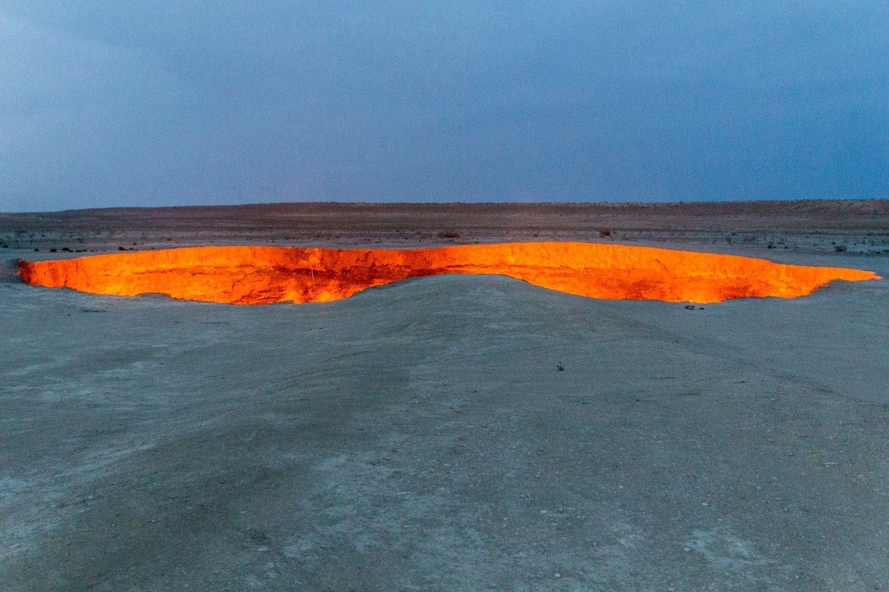 Hořící kráter Darvaza, Turkmenistán