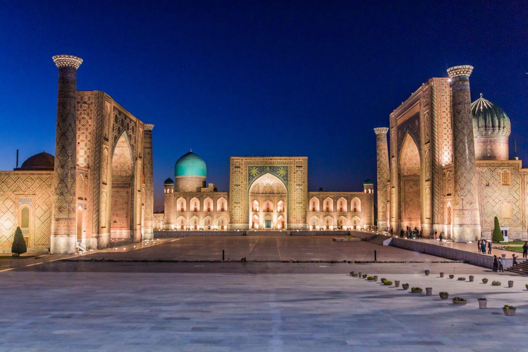 Náměstí Registán v Samarkandu, Uzbekistán