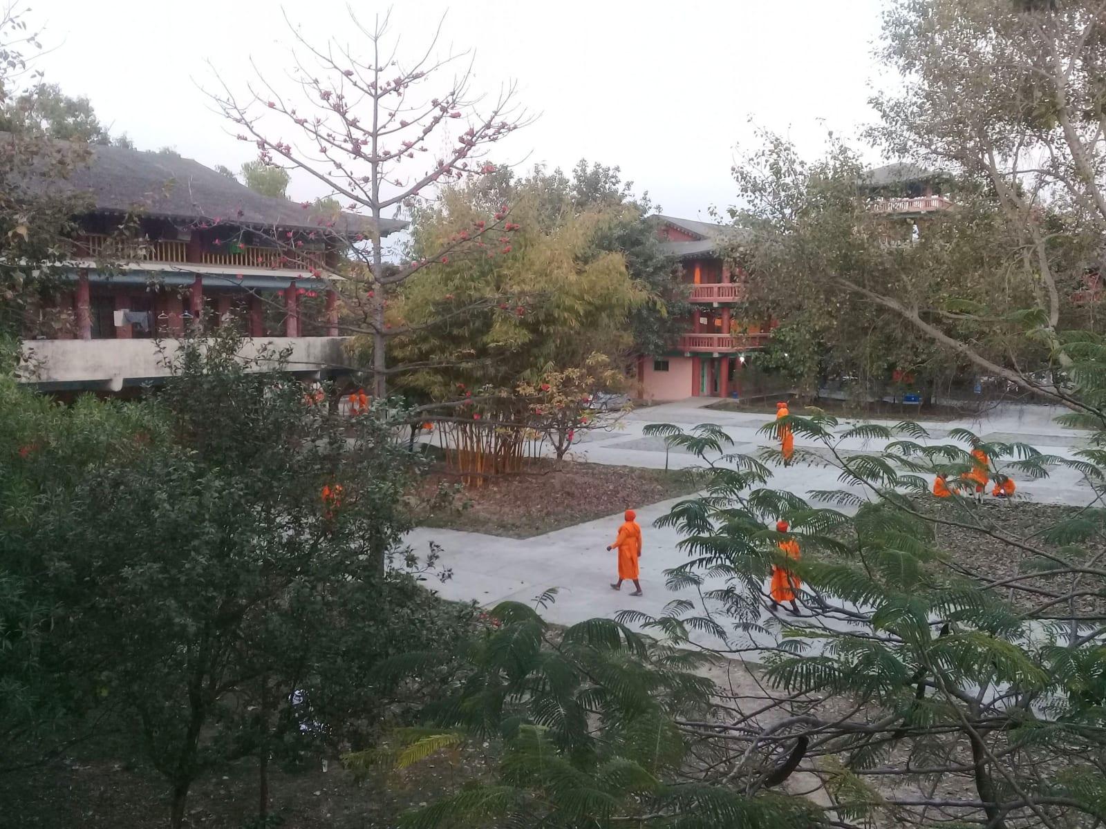 Scenérie z kláštera v Lumbini, Nepál