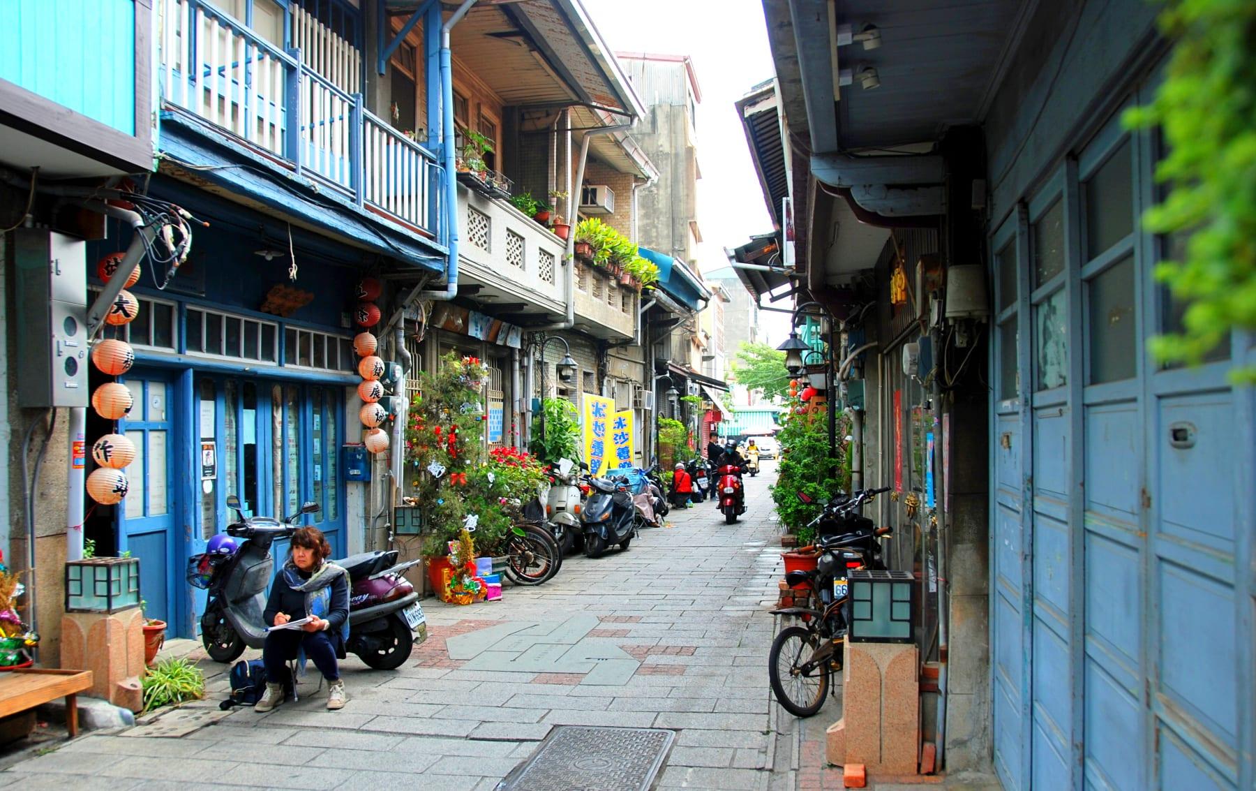 Jedna z historických uliček v Tchaj-nanu