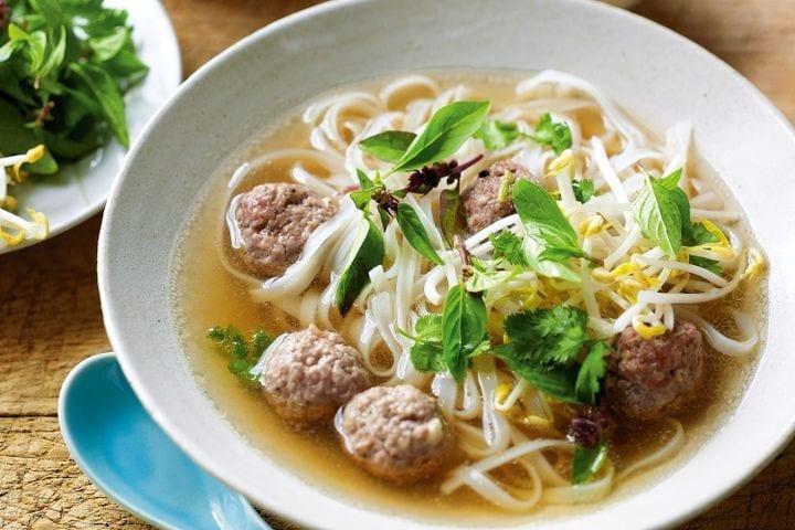 Thai pork ball noodle soup